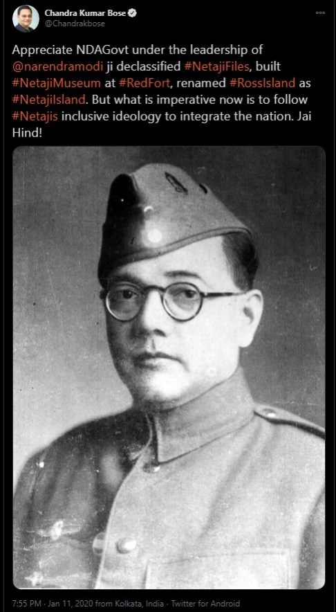 Photograph of Netaji Subhash Chandra Bose shared by his grand-nephew