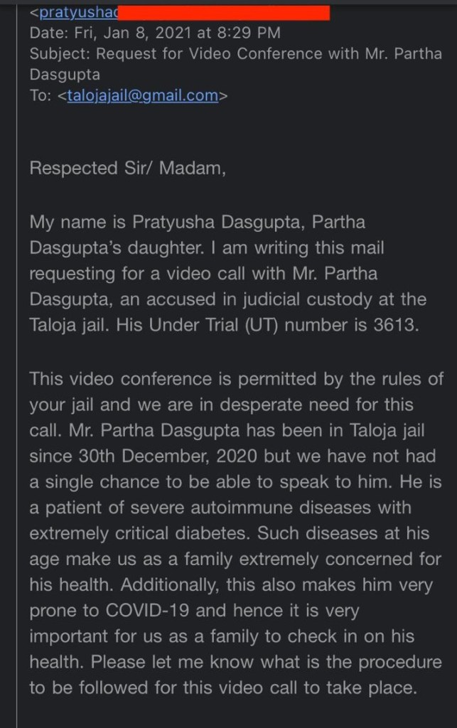 Email by the daughter of Partho Dasgupta to Taloja Jail
