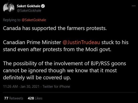 Saket Gokhale spreads conspiracy theories