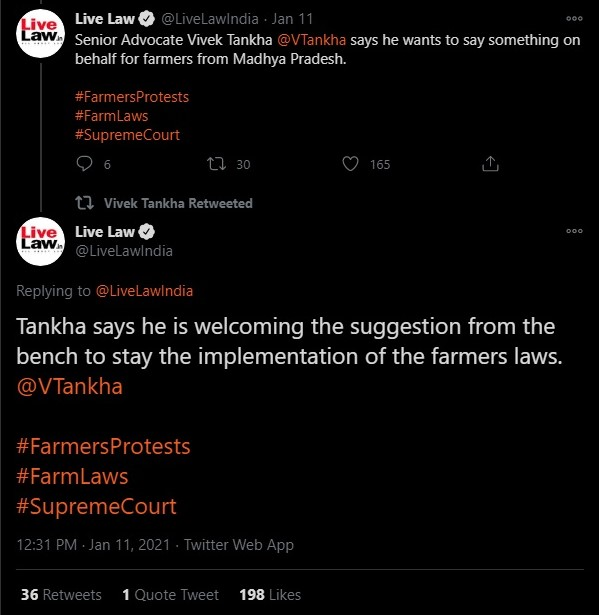 Vivek Tankha appeared on behalf of farmers at the Supreme Court