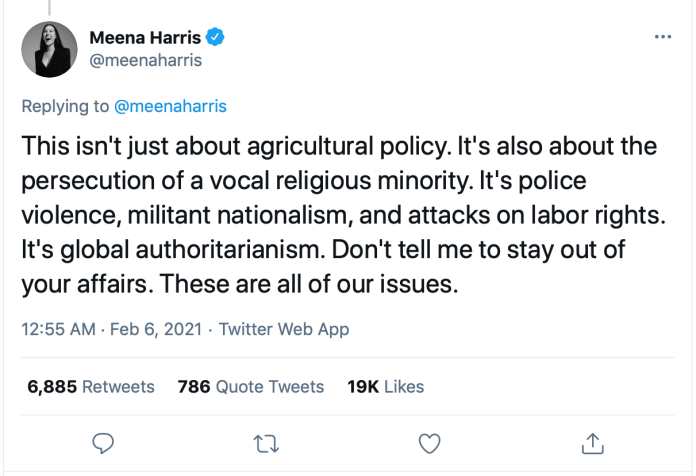Tweets by Meena Harris on India, farm laws and the violent insurrection on Republic Day