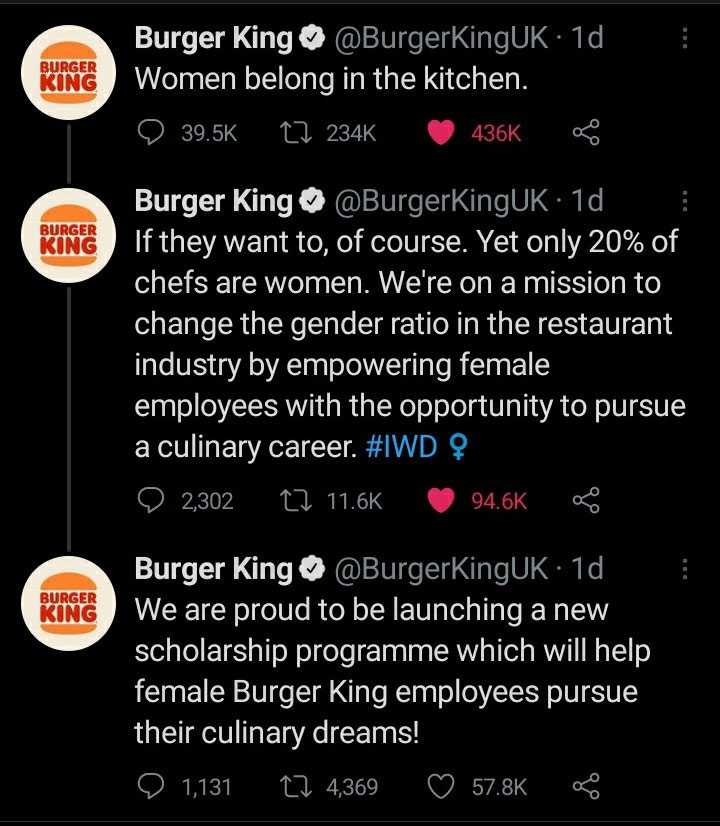 Burger King UK deletes 'women belong in the kitchen' tweet after backlash, issues apology