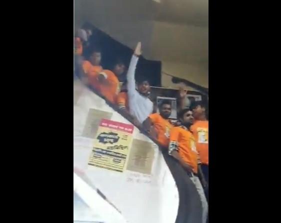 BJP supporters raise slogans inside Coffee House at College Street, Kolkata