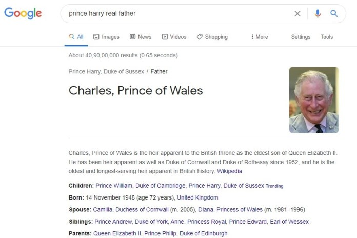 Prince Harry real father