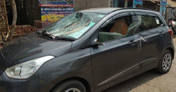 The car of Somendu Adhikari was vandalised, allegedly by TMC goons