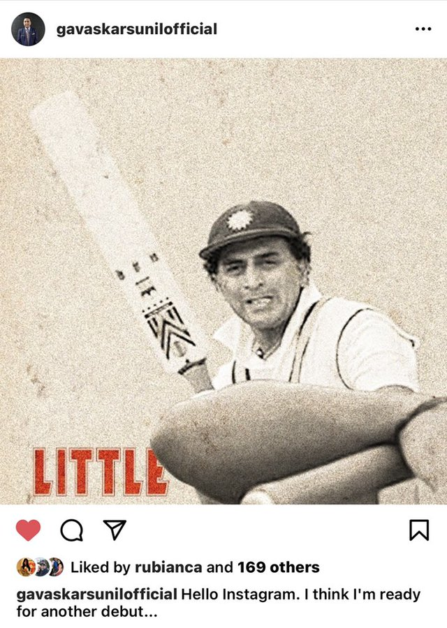 Sunil Gavaskar 'debuts' on Instagram on 50th anniversary of his first match for India