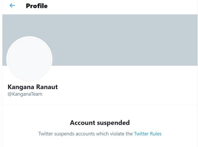 Twitter suspends Kangana Ranaut