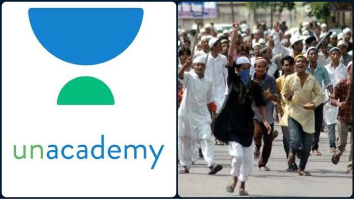 Unacademy slyly reverses religions of victims and aggressors to accuse Hindus of indulging in violence against Muslims