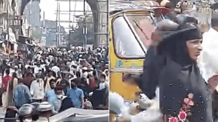 Huge crowd seen in Hyderabad's Charminar area ahead of Eid