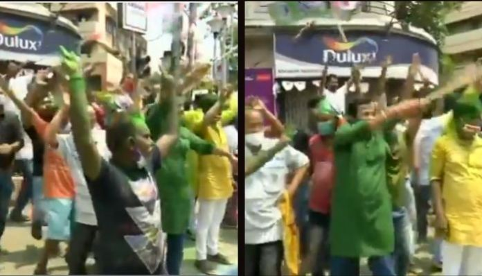 TMC workers celebrate party victory, violate Covid protocol in front of cops