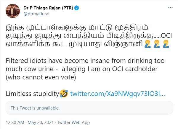 Is The Tamil Nadu Finance Minister A Us Citizen Claims Go Viral