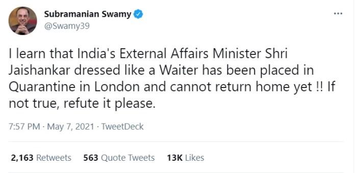 Tweet by Subramanian Swamy