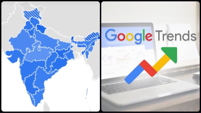 Google Trends shows a distorted map of India