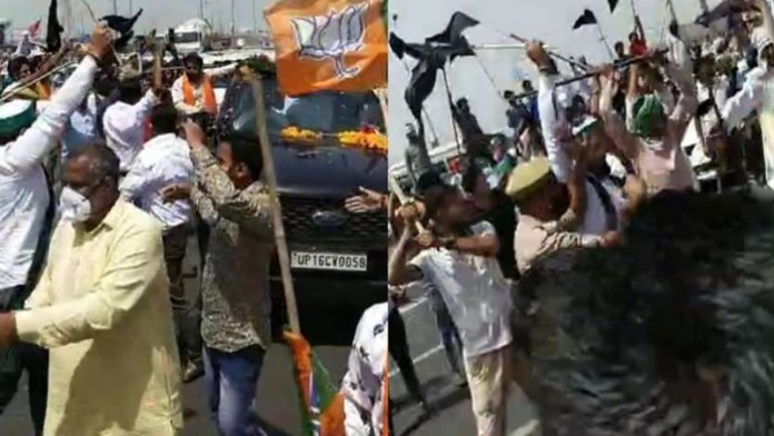 BKU protestors clashed with BJP workers when they attacked a BJP convoy on the Meerut expressway on Wednesday