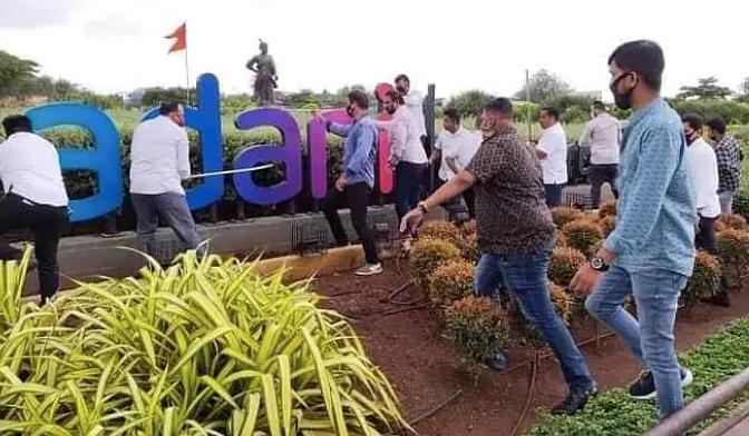 Shiv Sena goons vandalise Adani signboard at Mumbai airport, Shiv Sena leader defends the act