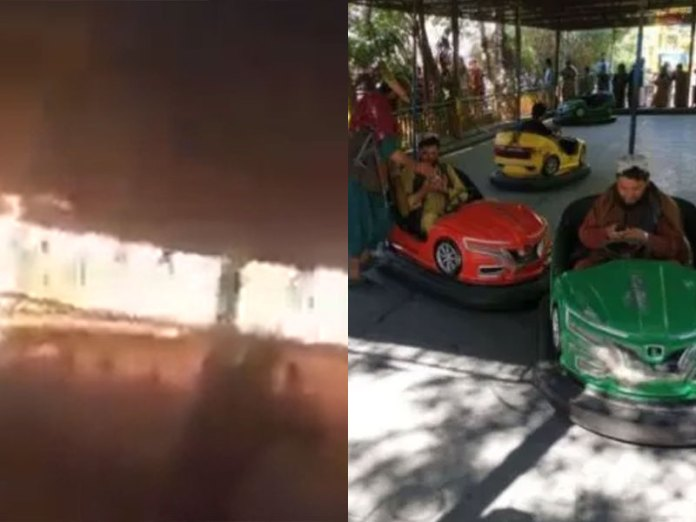 Taliban burn down amusement park because statues are haram in Islam