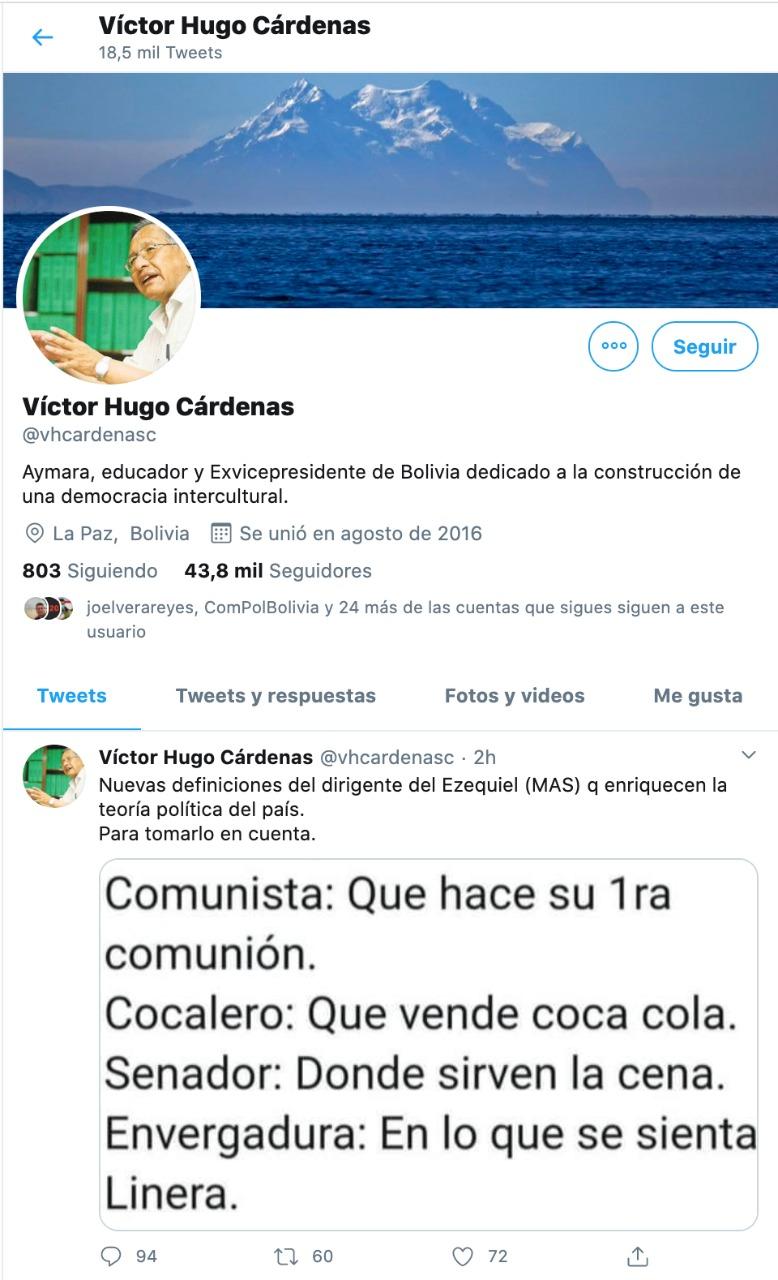 Captura de Twitter del Ministro Victor Hugo Cárdenas.