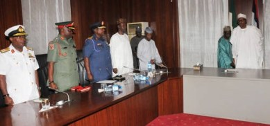 President Muhammadu Buhari meeting new service chiefs