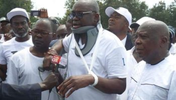 Image result for #EkitiVotes: Fayose makes first public appearance as Observers release report