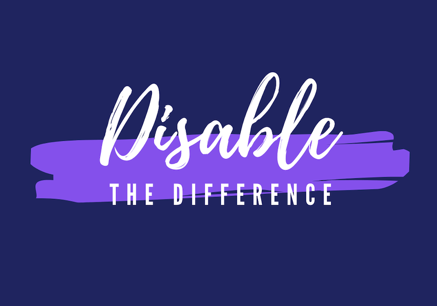 "White ""Disable the Difference"" script on dark blue with purple sash"
