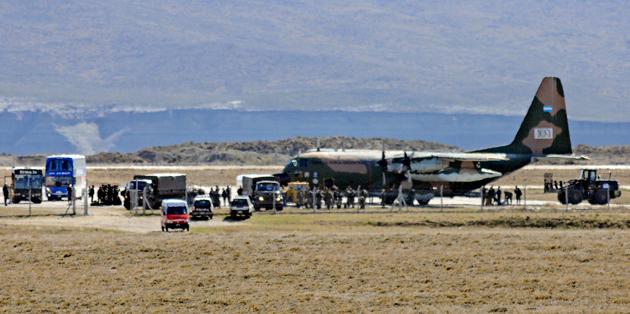 El Hercules TC-70 en el aeropuerto de Río Gallegos - Foto: OPI Santa Cruz/Francisco Muñoz