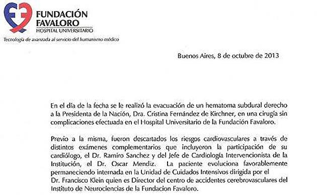 El parte medico de la Fundación Favaloro - Foto: