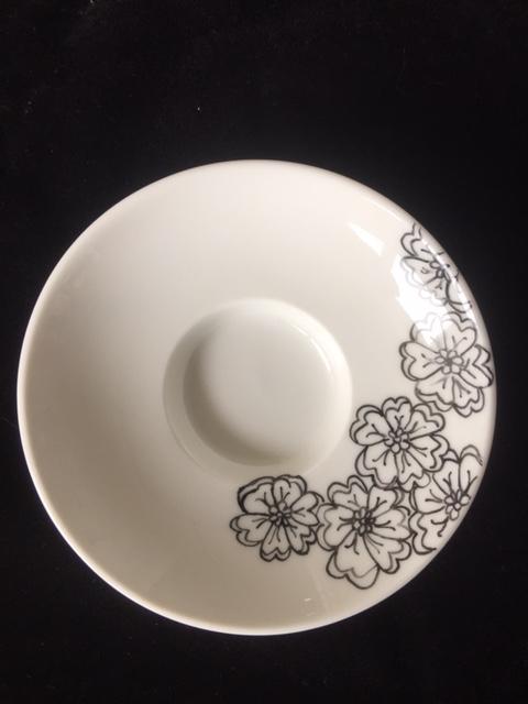 Waxinelichthouder zwart witte bloem