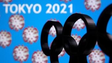 Painel ilustra adiamento dos Jogos de Tóquio para 2021