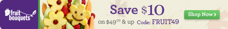 Save $10 on purchases of $49.99 & up on our Fruit Bouquets at 1800flowers.com. Promo Code: FRUIT49