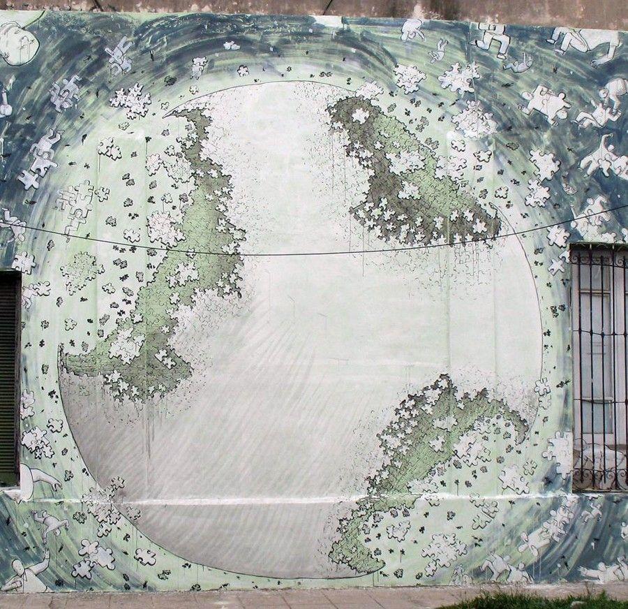 Globe puzzle art blu