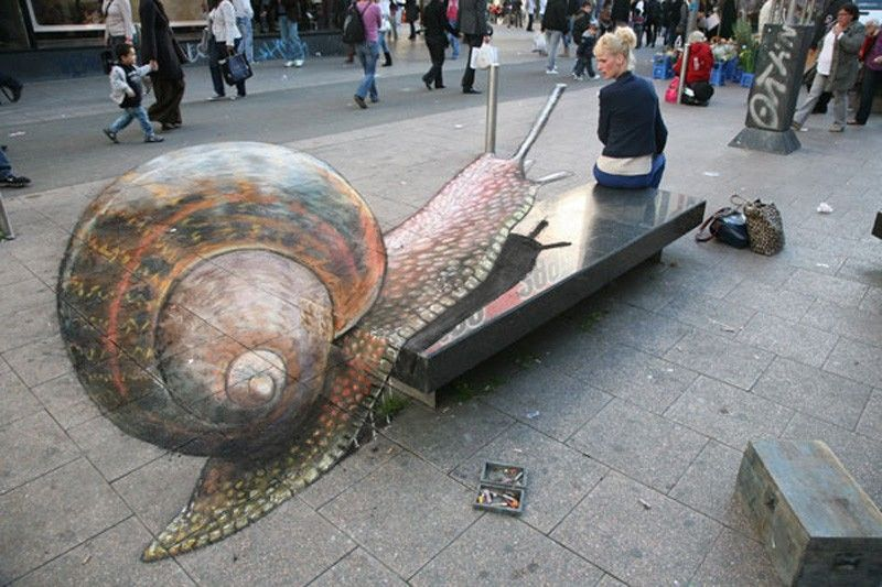 Snail attaque Julian Beever