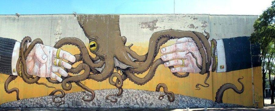 Street artiste peinture pieuvre