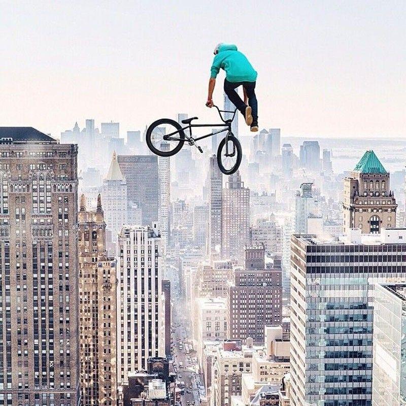 biker-extrême-building