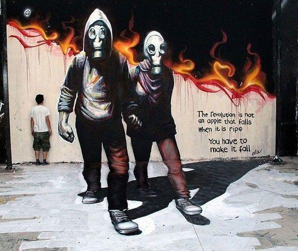 """Artiste : WD. """"La révolution n'est pas une pomme qui tombe lorsqu'elle est mûre. Il faut la faire tomber."""""""