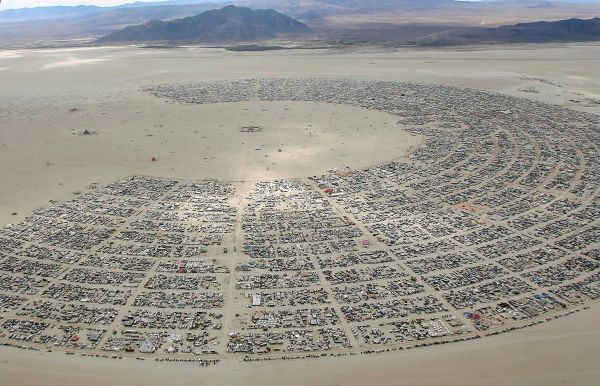 An aerial view as approximately 70,000 people from all over the world gather for the 30th annual Burning Man arts and music festival in the Black Rock Desert of Nevada, U.S. August 31, 2016. REUTERS/Jim Urquhart FOR USE WITH BURNING MAN RELATED REPORTING ONLY. FOR EDITORIAL USE ONLY. NOT FOR SALE FOR MARKETING OR ADVERTISING CAMPAIGNS. NO THIRD PARTY SALES. NOT FOR USE BY REUTERS THIRD PARTY DISTRIBUTORS. TPX IMAGES OF THE DAY. - RTX2NQTJ