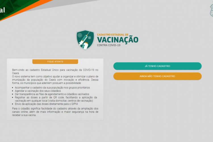 Registration of vaccination in Ceará against Covid-19.
