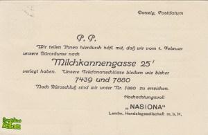 Nasiona - Milchkannengasse 25I - tył kartki pocztowej