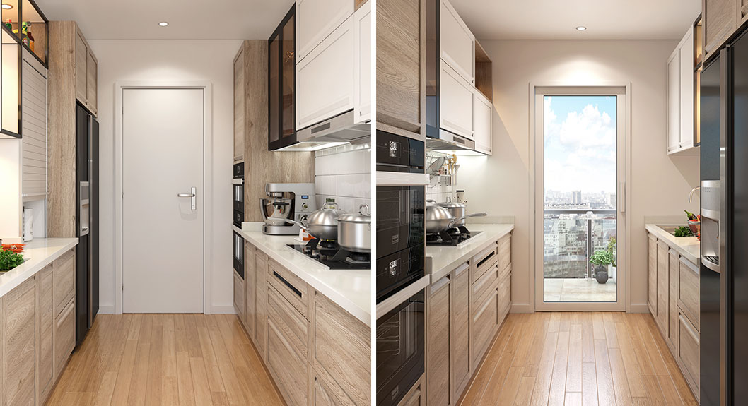 OPPEIN  Transitional Style Small Galley Kitchen OP18PP01