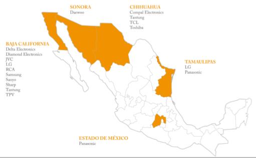 Mapa: ProMéxico. Algunas de las principales empresas manufactureras de equipo de audio y vídeo en México.