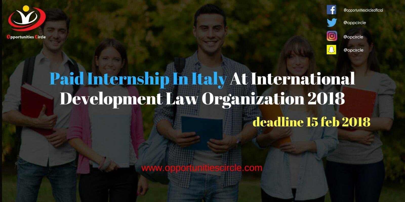 Paid Internship In Italy At International Development Law Organization 2018 - Paid Internship In Italy At International Development Law Organization 2018