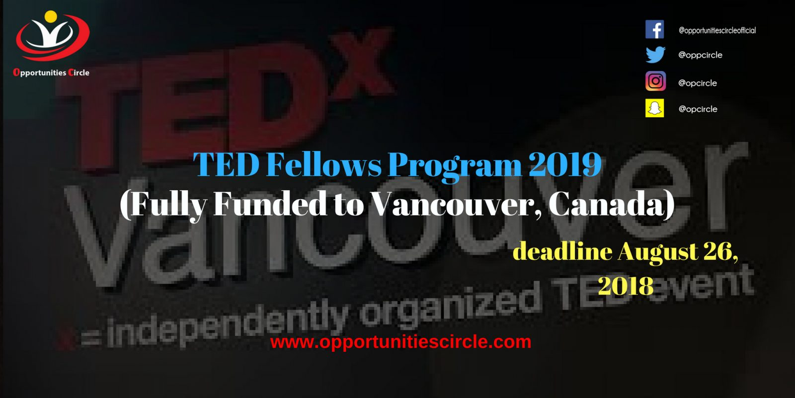 TED Fellows Program 2019 - TED Fellows Program 2019 (Fully Funded to Vancouver, Canada)