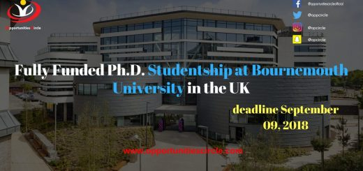 Fully Funded Ph.D. Studentship at Bournemouth University in the UK