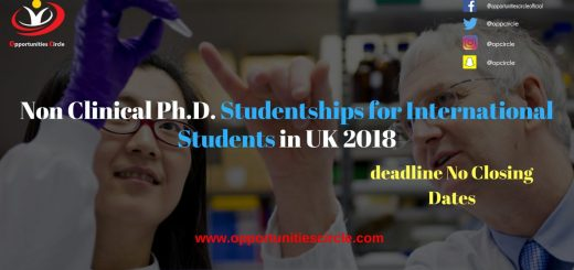 Non Clinical Ph.D. Studentships for International Students in UK 2018