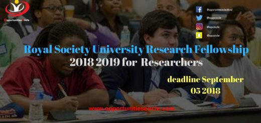 Royal Society University Research Fellowship 2018 2019 for  Researchers