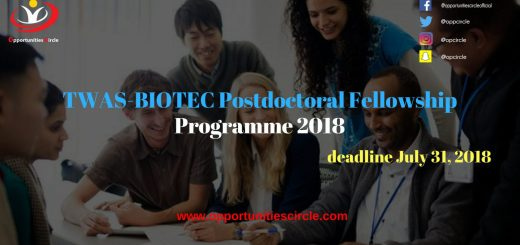 TWAS-BIOTEC Postdoctoral Fellowship Programme 2018