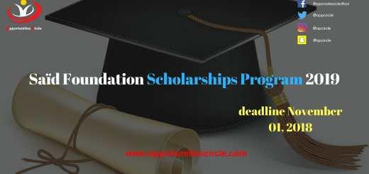 Saïd Foundation Scholarships Program 2019