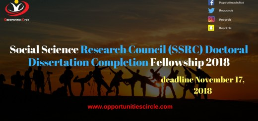 Social Science Research Council (SSRC) Doctoral Dissertation Completion Fellowship 2018