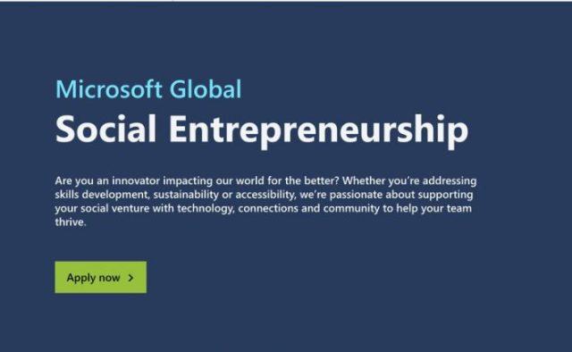 Microsoft Global Social Entrepreneurship Program 2020