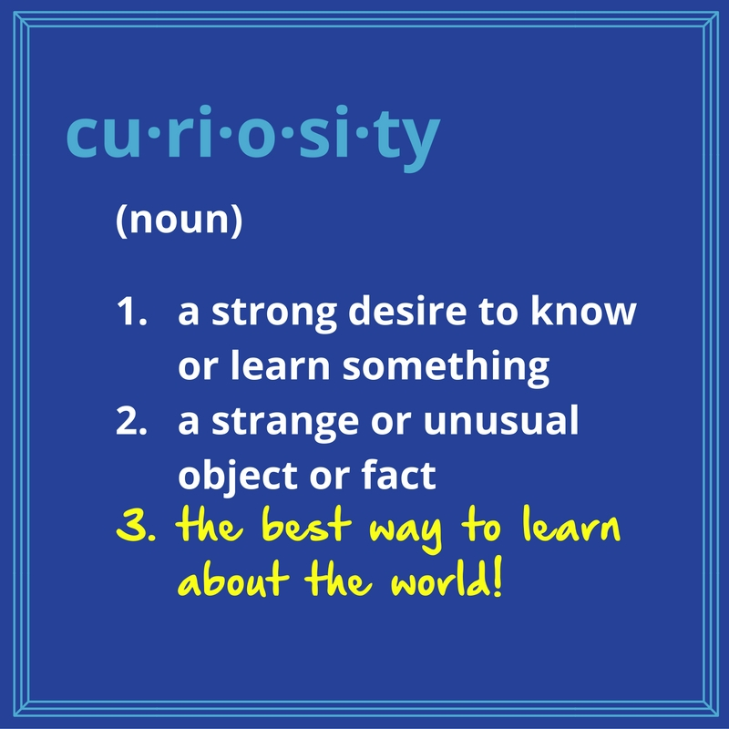 This image defines curiosity as (noun) 1. a strong desire to know or learn something, 2. a strange or unusual object or fact, and (added in hand-writing) 3. the best way to learn about the world!