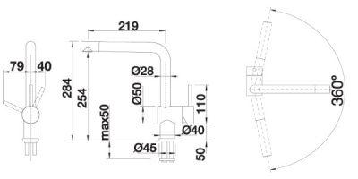BLANCO Linus hvit & krom kjøkkenbatteri med dreibar tut
